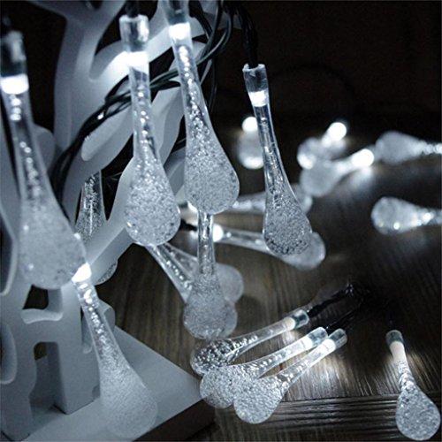 Outdoor Wassertropfen dekorieren Weihnachten Garten Laterne String Licht 20 Lichter Garten Party 20 Lichter Regen Teardrop Solarlicht String Fairy Light (WH)