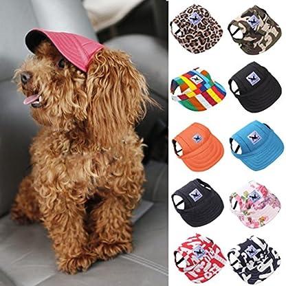 wuayi TAILUP Small Pet Casual Summer Canvas Cap Dog Baseball Visor Hat Puppy Outdoor Sunbonnet Cap (S, B) 2