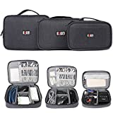 BUBM Gadgets Case [3--piece] Travel Electronics Organiser for SLR Camera/Photography Gear, Data Cables, Chargers, Plugs, Memory Cards, Power Lead and Other Tech Gadgets
