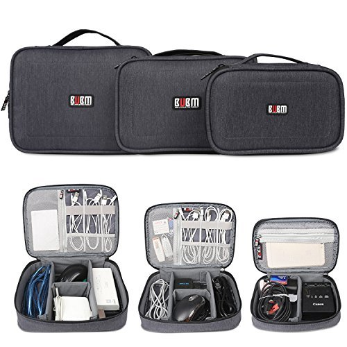 BUBM-Gadgets-Case-3-piece-Travel-Electronics-Organiser-for-SLR-CameraPhotography-Gear-Data-Cables-Chargers-Plugs-Memory-Cards-Power-Lead-and-Other-Tech-Gadgets