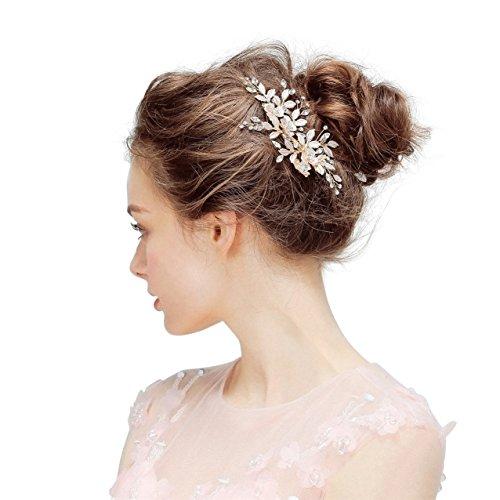 SWEETV Haarschmuck Hochzeit Licht Roségold Strass Haarspange Blume Clip Kamm Kopfstücke für Frauen