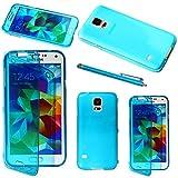 ebestStar - Cover Compatibile con Samsung S5 G900F, Galaxy S5 New G903F Neo Custodia Silicone Portafoglio Gel, Protezione Anti Shock AntiGraffio +Penna, Blu [Apparecchio: 142x72.5x8.1mm 5.1']