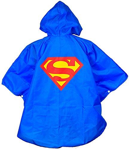 nponcho Cape - Einheitsgröße - Regen Poncho mit Kaputze Regenmantel für Kinder - King Mungo - KMSP001 (Superman Outfit Kind)