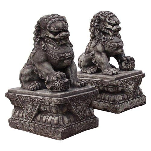 Wilai GmbH Décoration de jardin, statuette Chien FU (ou Lion Chinois), mâle ou femelle, Gris (10832)