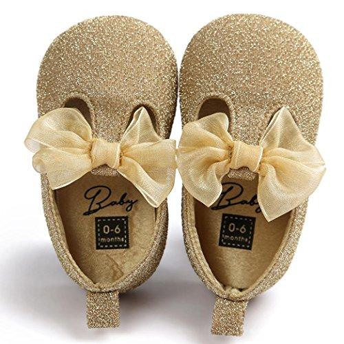 FEITONG Baby Bowknot Leder Schuhe Sneaker Anti-Rutsch Soft Sole Kleinkind (11, Gold) (Breite Designer-schuhe Breite)