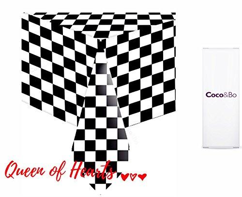 1x Coco & Bo–Alice im Wunderland schwarz & weiß kariert Tisch Cover–Einweg Kunststoff–Queen FO Herzen Mad Hatters Tea Party Tischdekorationen