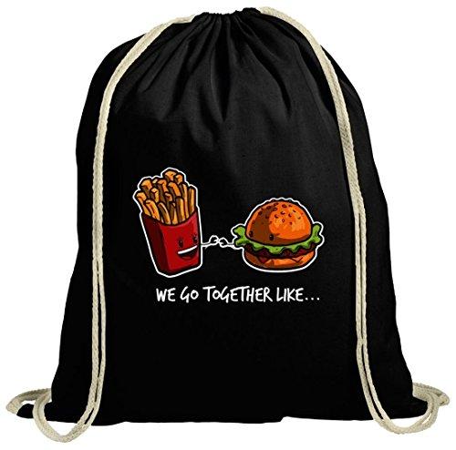 ShirtStreet Valentinstag natur Turnbeutel mit Fries + Burger Motiv, Größe: onesize,schwarz natur - Tote Friesen
