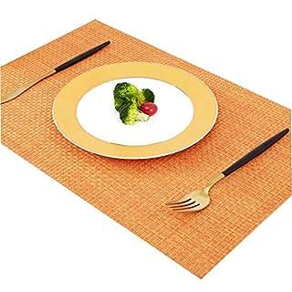 Addfun®Tischsets, Prämie Waschbar Hoch Qualität Rutschfest Isolierung PVC Tischsets für Esstisch(Orange, 6er Set)