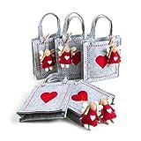 5 kleine FILZTASCHEN HERZ + ENGEL Schutzengel Anhänger Geschenktasche rot grau 18 x 20 x 5 cm Gastgeschenk Weihnachten Verpackung weihnachtlich Filz Geschenktasche
