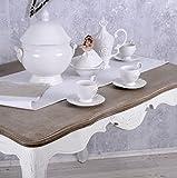 6 Kaffeetassen Service Weiss Porzellantassen Krone Unterteller Shabby