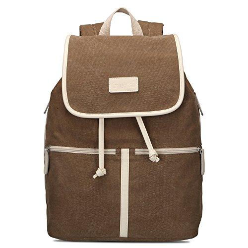 Bwiv Rucksäcke Canvas Unisex Schulrucksack Vintage Schultertasche Daypack Outdoor Backpack Damen Herren Tasche für Retro Reisetaschen Lässige Olive M Braun