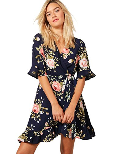 BMJL Ruffle Dress Drawstrings Floral Pleated Dress Chiffon Mini Casual Summer Dress for Women