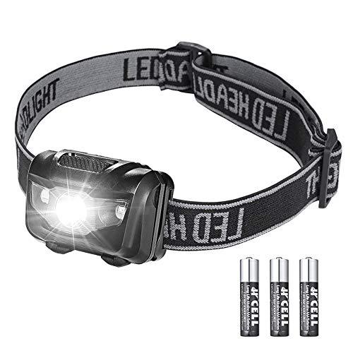 HooAMI LED Stirnlampe IPX4 wasserfeste Kopflampe Leicht und Ultrahell Kopfleuchten mit 4 Leuchtmodi fürs Laufen Joggen Angeln Campen Stirnlampen inklusive 3 AAA Batterie