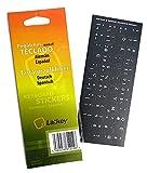 Spanisch / Deutsch Tastatur-Aufkleber für PC, Laptop, Computer-Tastaturen (Schwarz Labels, weißen Buchstaben)