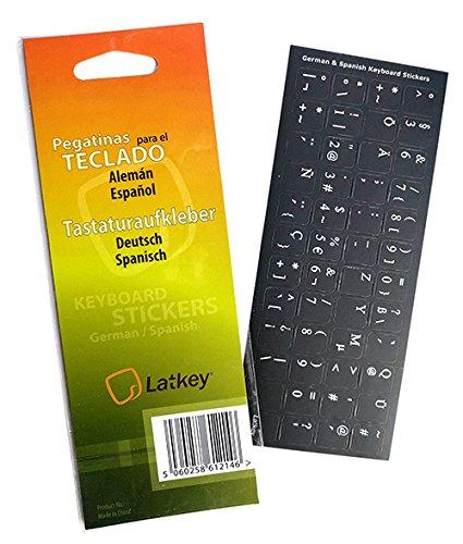 Adesivi tastiera spagnolo / tedesco PC, laptop, computer Tastiere (etichette integranti nero, lettere