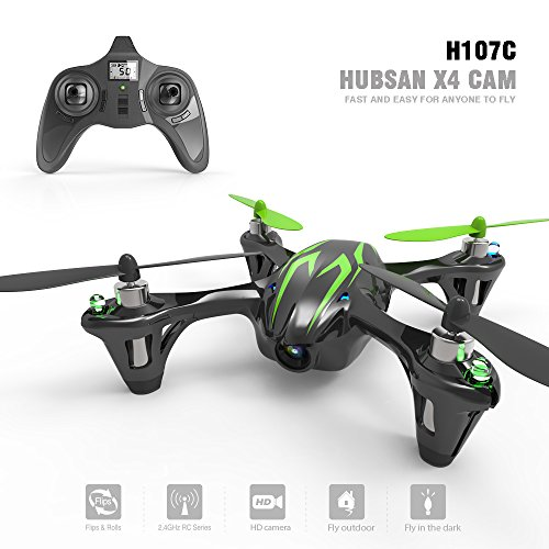 Hubsan X4 Cemare H107C LED Mini QuadCopter RTF avec Caméra, 2.4Ghz Télécommande inclus, Noir/Vert