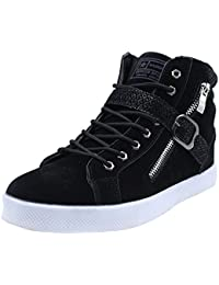 1574aa7bdff7 wealsex Basket Suede Montantes Homme Boucle Lacets Fermeture Eclair Sneakers  Hautes Chaussure Casual Mode Confort Grand