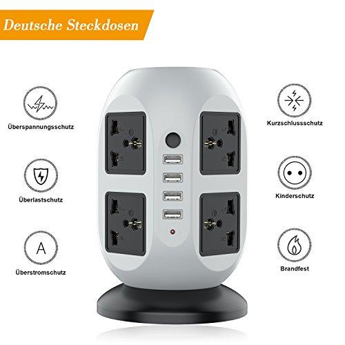 Ab 8 Steckdosen Überspannungsschutz (LESHP Steckdosenleiste 8-fach 4 USB Ports Überspannungsschutz Steckdosenturm EU Plug 2500W 110-250V (schwarz + grau))