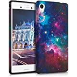 kwmobile CUSTODIA IN TPU silicone per Sony Xperia M4 Aqua Design spazio multicolore fucsia nero - Stilosa custodia di design in morbido TPU