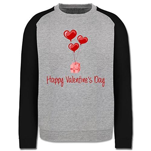 Valentinstag - Happy Valentine's Day Geschenk Herz Luftballon - Herren Baseball Pullover Grau Meliert/Schwarz