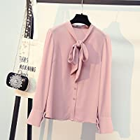 LGK&FA A Lady'S White Shirt With A Chiffon Shirt And A Bow Tie With A Bow Tie S Pink