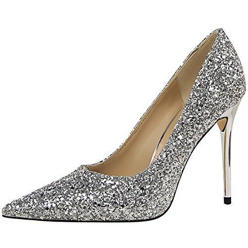 BIGTREE Spitze Zehen Damen Kleid Pumps von Sexy Glänzend Pailletten Hochzeit Pumps Silber 39 EU