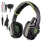 Sades 3,5mm Surround Stereo-Gaming LOL Headset Kopfbügel Kopfhörer PC W/Mikrofon PS4Schwarz und Grün Farbe