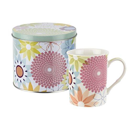 Crazy Daisy Tasse und Zinn Set, Porzellan, Mehrfarbig, 13x 13x 11,5cm -