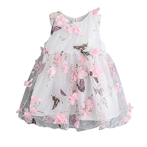Sonnena Mädchen Baby Ärmellos Ballkleider Mode Schmetterlingsdruck tüll Tutu Weste Prinzessin Abendkleid Elegant Party Geburtstag Outfits Kleidung (Für Outfits Geburtstag Erwachsene)