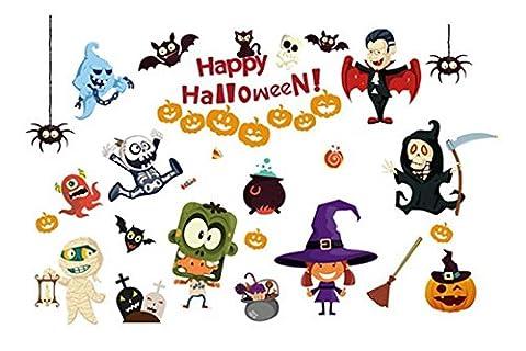 Y-BOA Stickers Autocollants Motif Halloween Citrouilles Chauve-Souris Sang Sorcière Décor Mural Fenêtre Salon Chambre #1