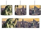 Gigantische Freiheitsstatue in New York Bunstift Effekt inkl. Lampenfassung E27, Lampe mit Motivdruck, tolle Deckenlampe, Hängelampe, Pendelleuchte - Durchmesser 30cm - Dekoration mit Licht ideal für Wohnzimmer, Kinderzimmer, Schlafzimmer