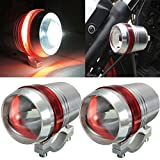 #5: AutoSun Motorcycle Bike Car U3 LED Fog Spot Light Driving HeadLights Red Angle Eye Set of 2