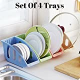 PERFECT LIFE IDEAS Plastic Plate Storage Organizer (Multicolour) - Set Of 4