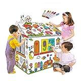 Festnight Fai da Te Grande Cartone da colorare Creativo Artigianato casa da Gioco Progetto assemblare e dipingere Giocattoli educativi 2.2 Piedi Alto per Bambini età 2,3,4,5,6,7,8