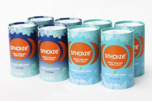 Snoooze ® - Das Natürliche Schlafgetränk auf Kräuterbasis - Wirksamer Schlaf tee mit Baldrian, Passionsblume, Lindenblüte, Kalifornischer Mohn - 8 x 135ml - MixBox - Made in Austria
