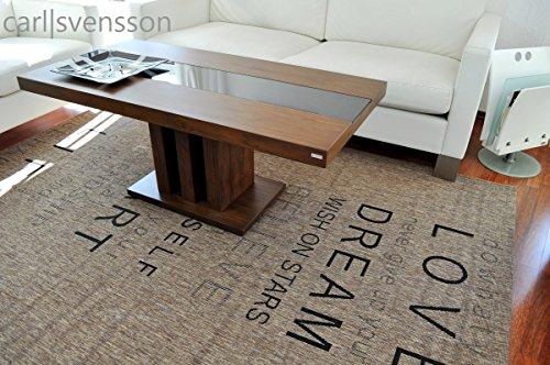 Design Couchtisch S-444 Nussbaum/Walnuss getöntes Glas Carl Svensson
