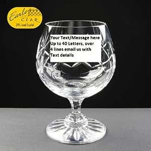 Metaxa Brandy personnalisée Cristal Coffret cadeau avec bouteille Miniature-Verre à cognac et Brandy avec Metaxa de Gravure offerte jusqu'à 30 caractères, avec boîte cadeau.