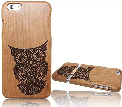 Wooden Case Cover,Vandot Unico Reale Handmade Legno [Naturale WoodBack Lavorato Custodia] Per Apple iPhone 6 6S 4.7 Pollici - [Cranio] Style 12