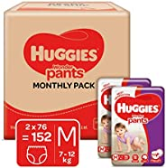 Huggies Wonder Pants Medium (M) Size Baby Diaper Pants Monthly Pack, 152 count, with Bubble Bed Technology for