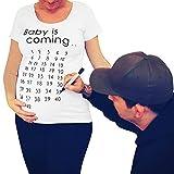 Highdas T-Shirts Kleidung Komfortable Schwangere Frau Tops Sommer Mutterschaft T-Shirt Neue Oansatz Schwangerschaft Weiß M