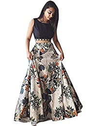 Bhakti Nandan Women's bangalori satin Long Skirt Gown And Top (greeb_50_White_ Free Size)