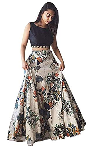 Bhakti Nandan Women\'s Cotton Silk Lehenga Choli With Blouse Piece_Black white floral_Free Size (Greeb_50)