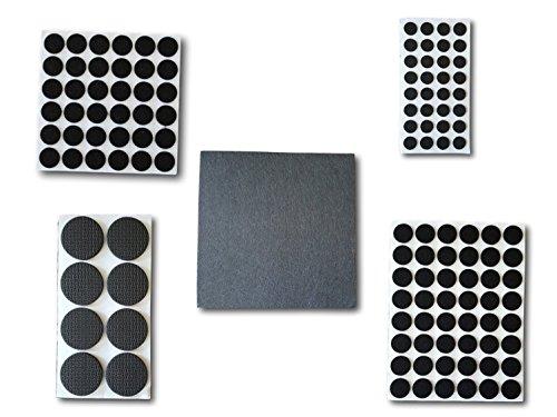 jb-Perfect®| 125x Filzgleiter selbstklebend in schwarz, Möbelgleiter Stuhlgleiter Bodengleiter Kratzschutz Bodenschutz rund, eckig, Filz