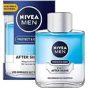 NIVEA MEN Protect & Care 2in1 After Shave im 4er Pack (4 x 100 ml), pflegendes und kühlendes After Shave, Hautpflege mit Aloe Vera und Panthenol