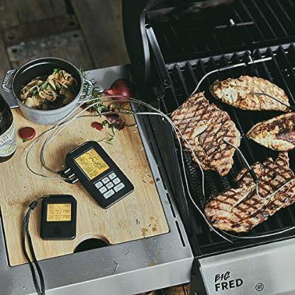 BURNHARD Termómetro Digital Inalámbrico para Cocina Horno Barbacoa 3 Sensores Sondas, Temporizador de Cocina con Alarma, Termómetro para Pescado Carne, Termómetro para Asar, hasta 300 °C
