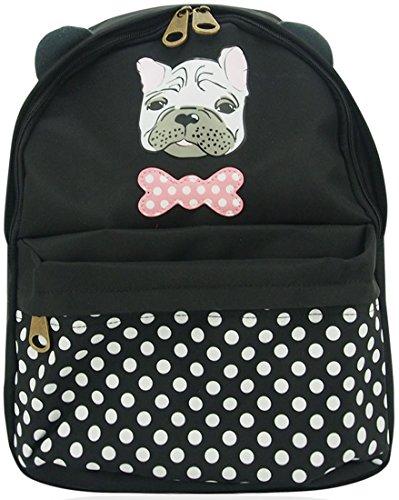 Ukfs Designer Lady Girl Polka Dot Charlie Dog Zaino Sintetico / Pochette Nere