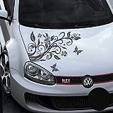 A456 Blumenranke Autoaufkleber + 3 Schmetterlinge 77cm x 50cm schwarz (Farb-/Größenwahl)