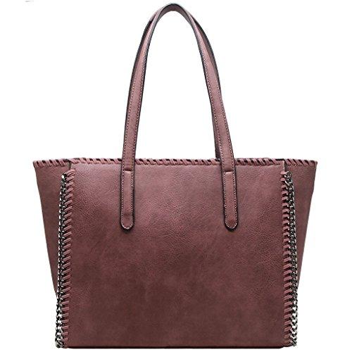 CRAZYCHIC - Borsa a mano donna con catena e treccia sul contorno della borsa - Imitazione pelle Grande formato Tote shopper bag - Moda borsa a spalla grandi dimensioni e lunga maniglia Vecchia Rosa