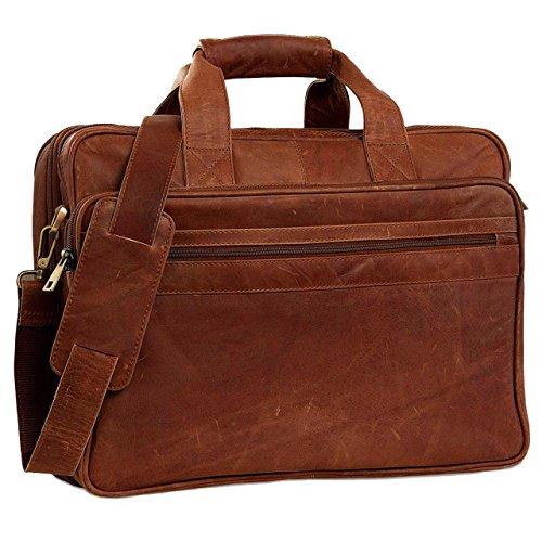 STILORD Vintage Umhängetasche Leder groß Ledertasche Aktentasche Lehrertasche 15,6 Laptop Büffel-Leder Cognac-Braun
