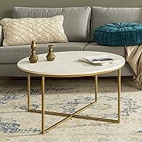 طاولة قهوة دائرية من ووكر ايدسن فرنيتشر، بتصميم حديث مميز يناسب غرفة المعيشة، طراز AZF36ALCTMGD، زجاجية/ بلون ذهبي